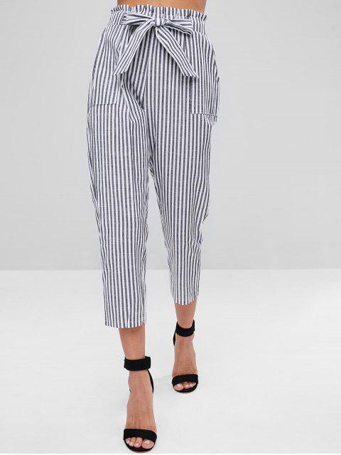 Pantalones a rayas con cinturón - Negro L Mobile