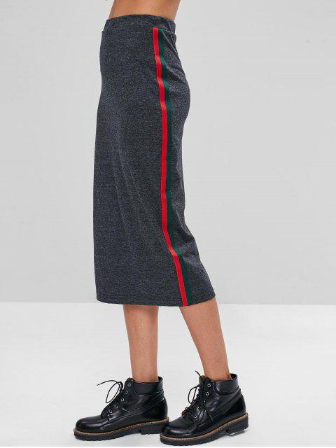 online Stripes Patched Midi Skirt - GRAY M Mobile
