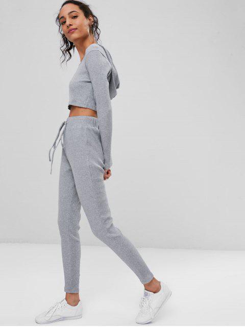 fancy Ribbed Crop Top and Pants Sweat Suit - GRAY M Mobile