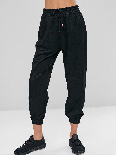 Pantalones de cintura alta con cordón - Negro S Mobile