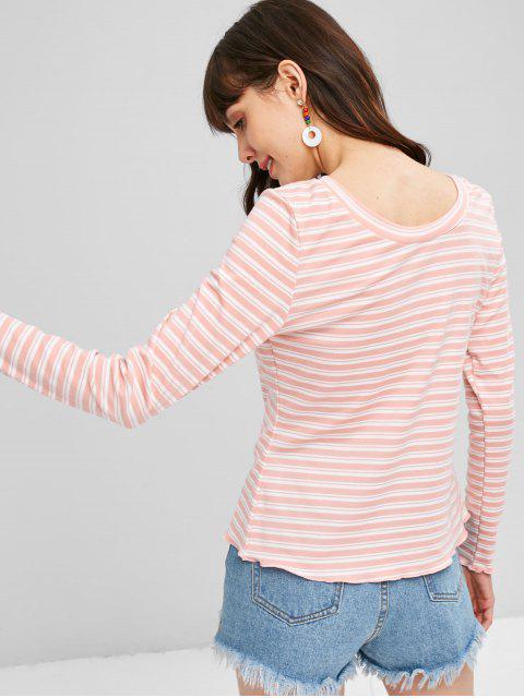 T-shirt Longues Manches Rayé - Rose Léger  M Mobile