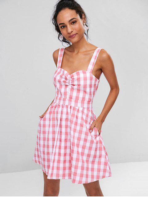 affordable Ruched Front Gingham Skater Dress - PINK L Mobile
