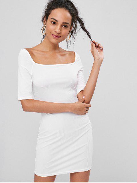 shop Ribbed Bodycon Mini Dress - WHITE M Mobile