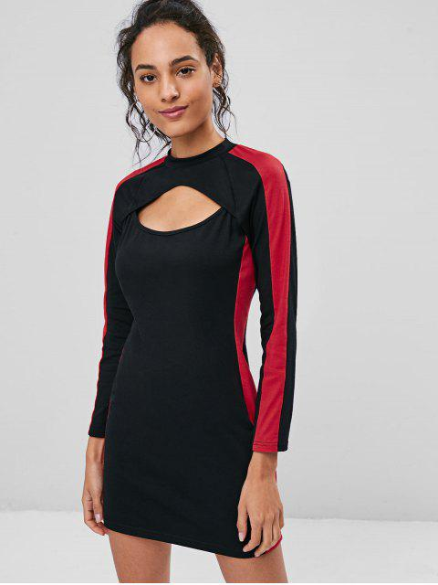 women Two Tone Keyhole Dress - BLACK XL Mobile