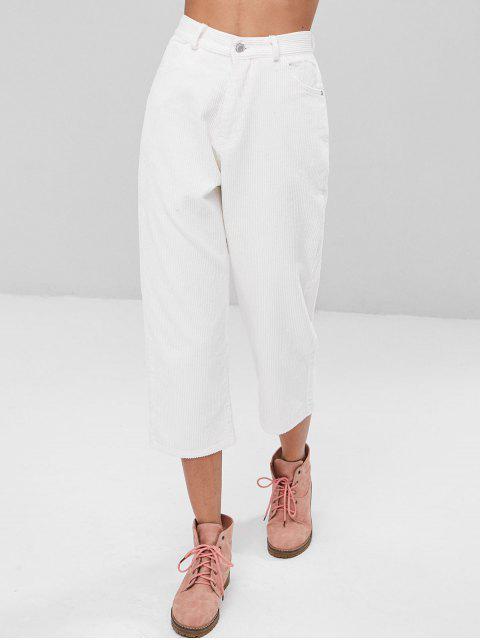 Pantalon Velours Droit et Court de Taille Haute - Blanc S Mobile