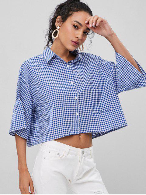sale Oversized Gingham Shirt - EARTH BLUE L Mobile