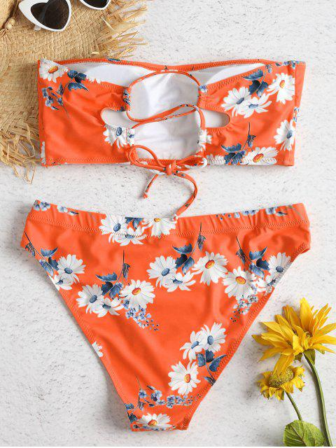 latest Daisy Print Plus Size Bandeau Bikini Set - ORANGE 1X Mobile