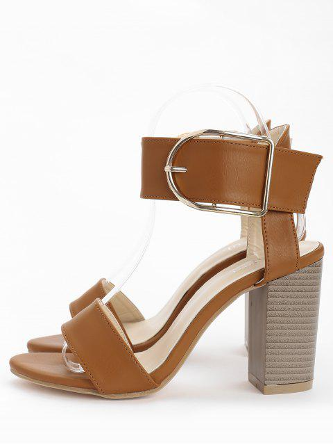 womens High Heel Chic Ankle Strap Buckled Sandals - LIGHT BROWN 37 Mobile