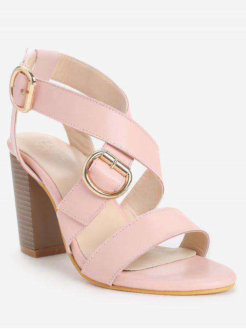 ladies Chunky Heel Chic Crisscross Ankle Wrap Sandals - LIGHT PINK 36 Mobile