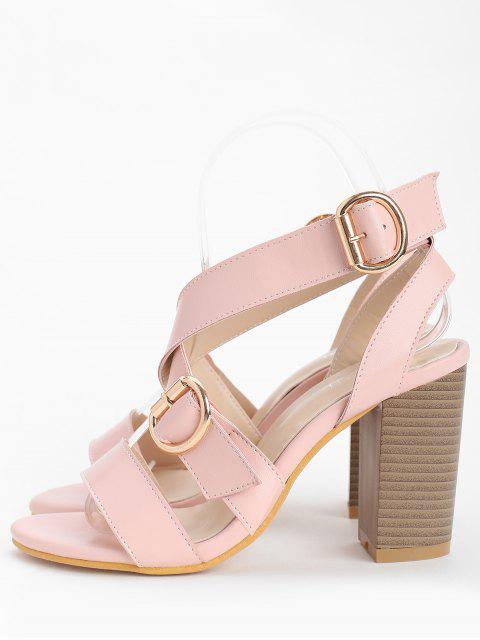 new Chunky Heel Chic Crisscross Ankle Wrap Sandals - LIGHT PINK 38 Mobile