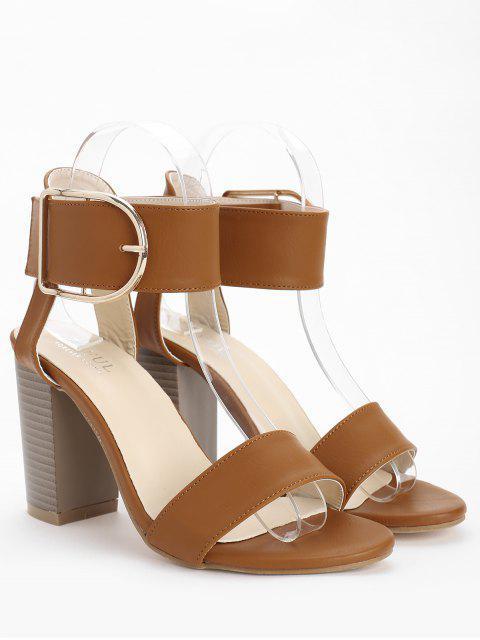 shop High Heel Chic Ankle Strap Buckled Sandals - LIGHT BROWN 40 Mobile