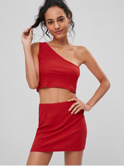 unique Ribbed One Shoulder Skirt Set - FIRE ENGINE RED M Mobile