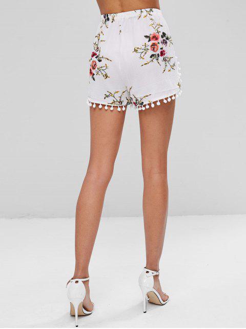 Short avec Pompons à Imprimé Floral - Blanc S Mobile