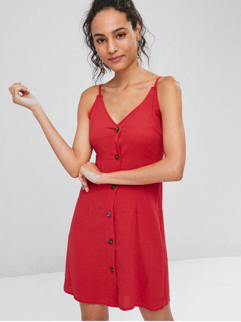 Kontrast Knopf Vorder Cami Minikleid - Rot S Mobile
