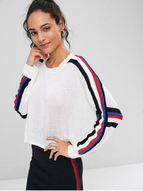 hot Stripes Panel Cropped Sweater - WHITE ONE SIZE Mobile