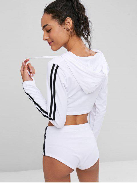Conjunto Sudadera Sudadera con Capucha Corta y Shorts - Blanco L Mobile