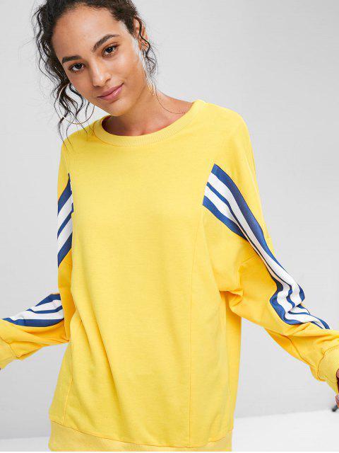 Locker Gestreiftes Sweatshirt - Sonne Gelb L Mobile