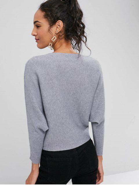 fancy Ribbed Dolman Sleeve Sweater - GRAY ONE SIZE Mobile