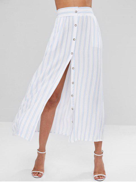 Jupe à Rayures et Boutonnée - Blanc XL Mobile
