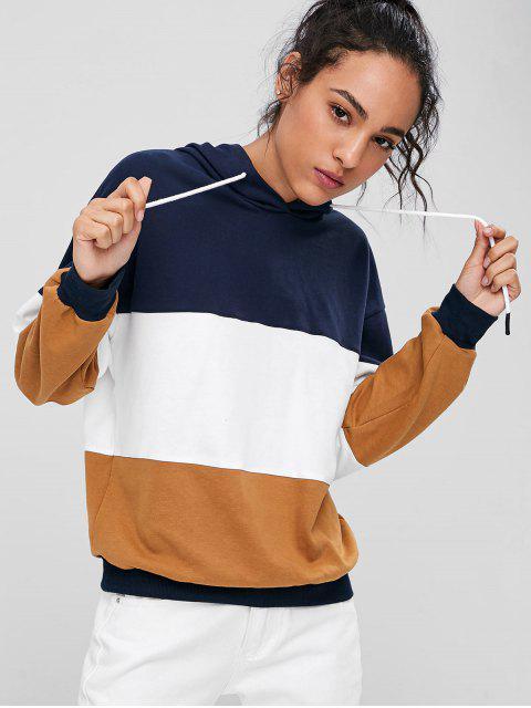 trendy Drawstring Color Block Hoodie - MULTI S Mobile