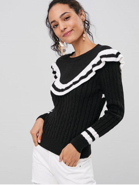 trendy Contrasting Ruffles Sweater - BLACK ONE SIZE Mobile