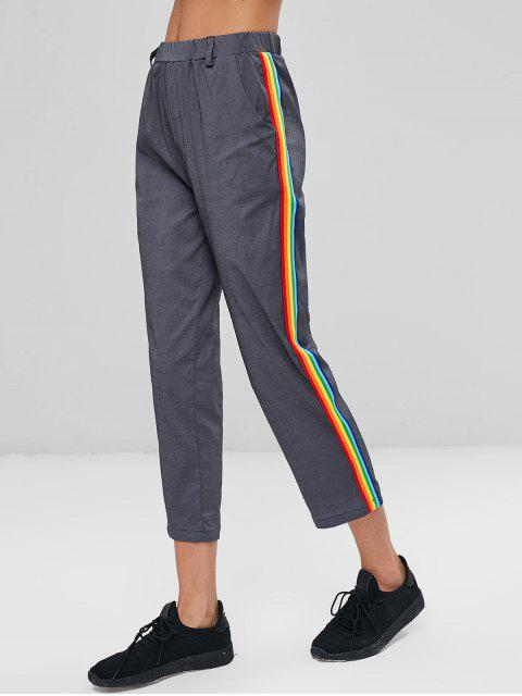 chic Stripes Panel Ninth Pants - CARBON GRAY L Mobile