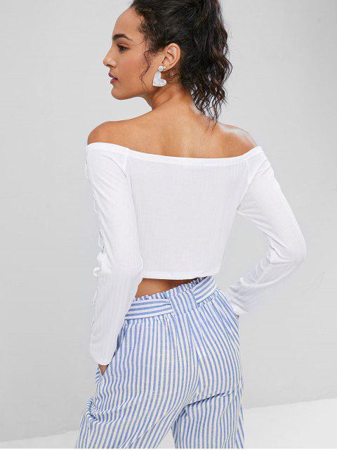 outfit Off Shoulder Embellished Crop Tee - WHITE M Mobile