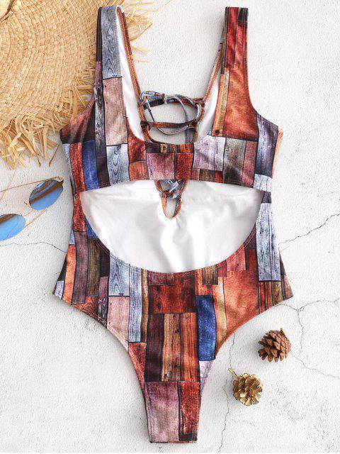 unique Lace-up Patchwork Cut Out Swimsuit - MULTI S Mobile