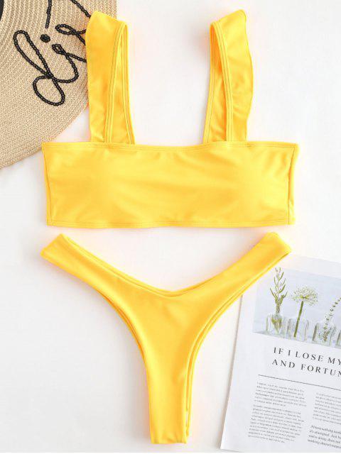 chic Frill High Leg Bikini Set - RUBBER DUCKY YELLOW S Mobile