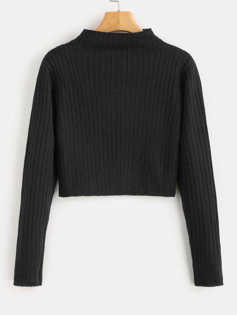 online Mock Neck Ribbed Sweater - BLACK S Mobile