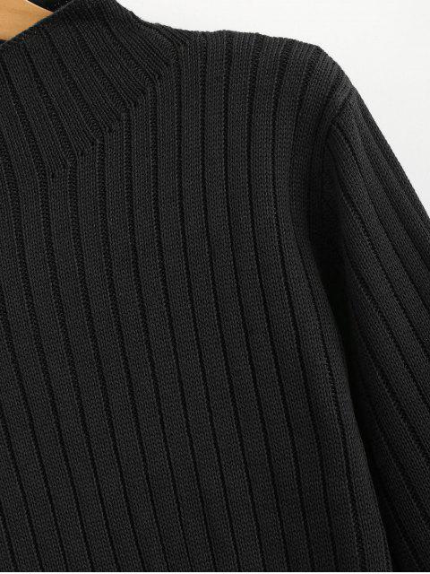 affordable Mock Neck Ribbed Sweater - BLACK M Mobile