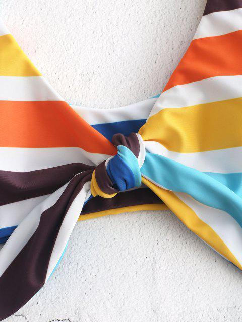 shop Colorful Striped Knot Bikini Set - MULTI S Mobile