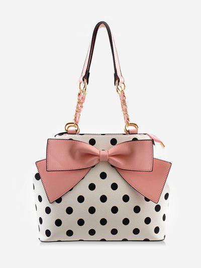 Bowknot Retro Polka Dot Color Block Shoulder Bag