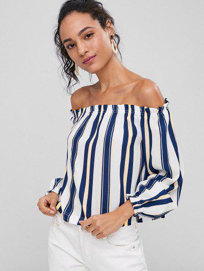 Frilled Stripe Off The Shoulder Blouse - Multi M