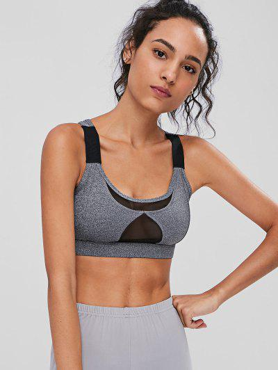 Pocket Mesh Panel Sports Bra - Gray S