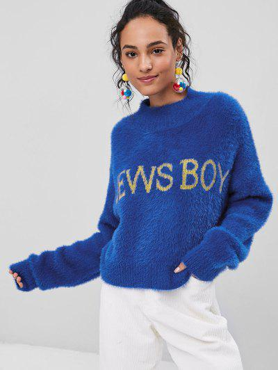 High Neck News Boy Fuzzy Sweater - Cobalt Blue