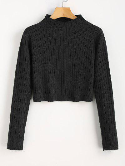 Mock Neck Ribbed Sweater - Black M