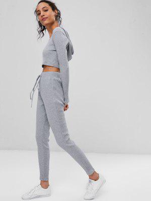 Geripptes Crop Top Und Hose Sweat Suit