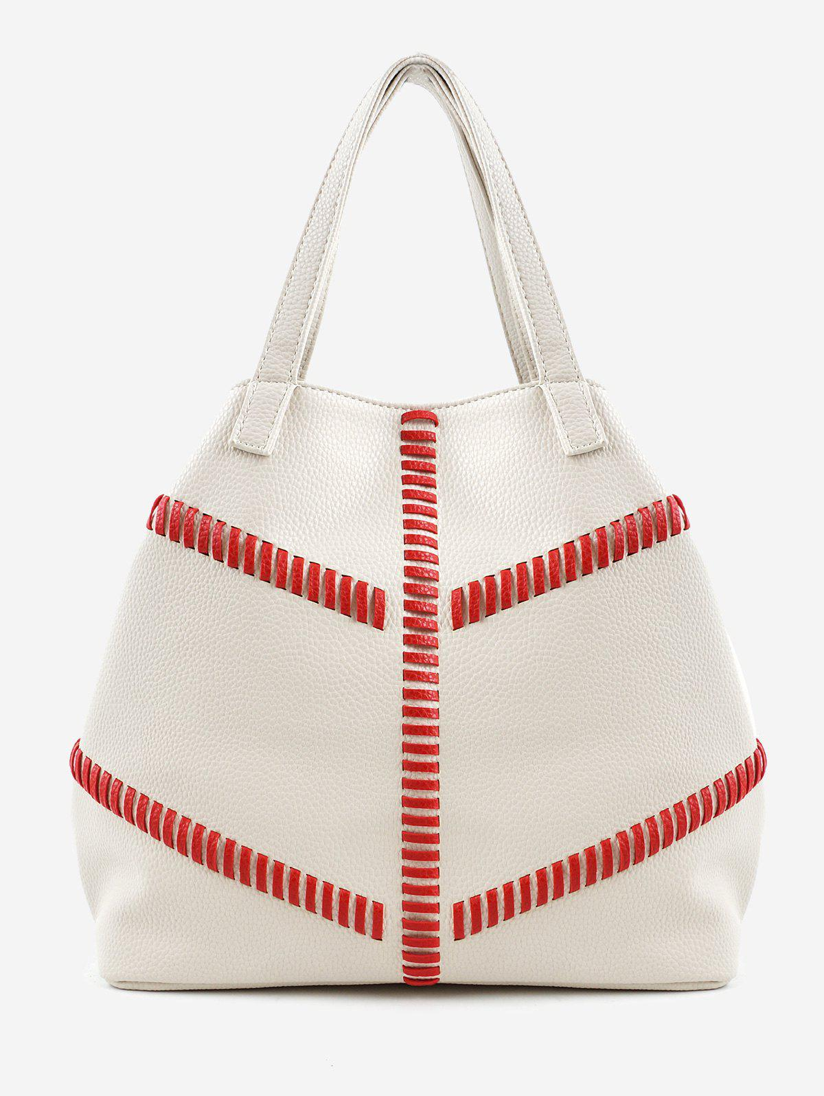 Color Block Whipstitch Practical Minimalist Tote Bag