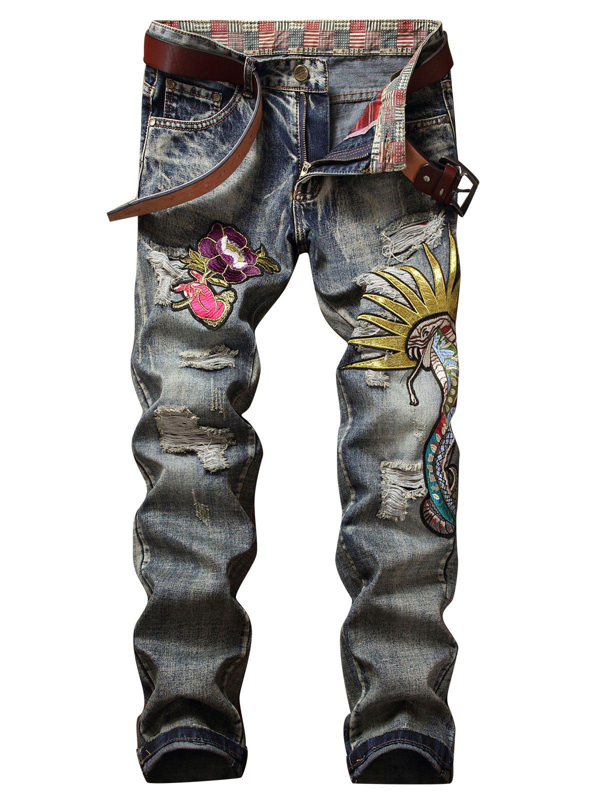 Vintage Embroidery Applique Ripped Jeans