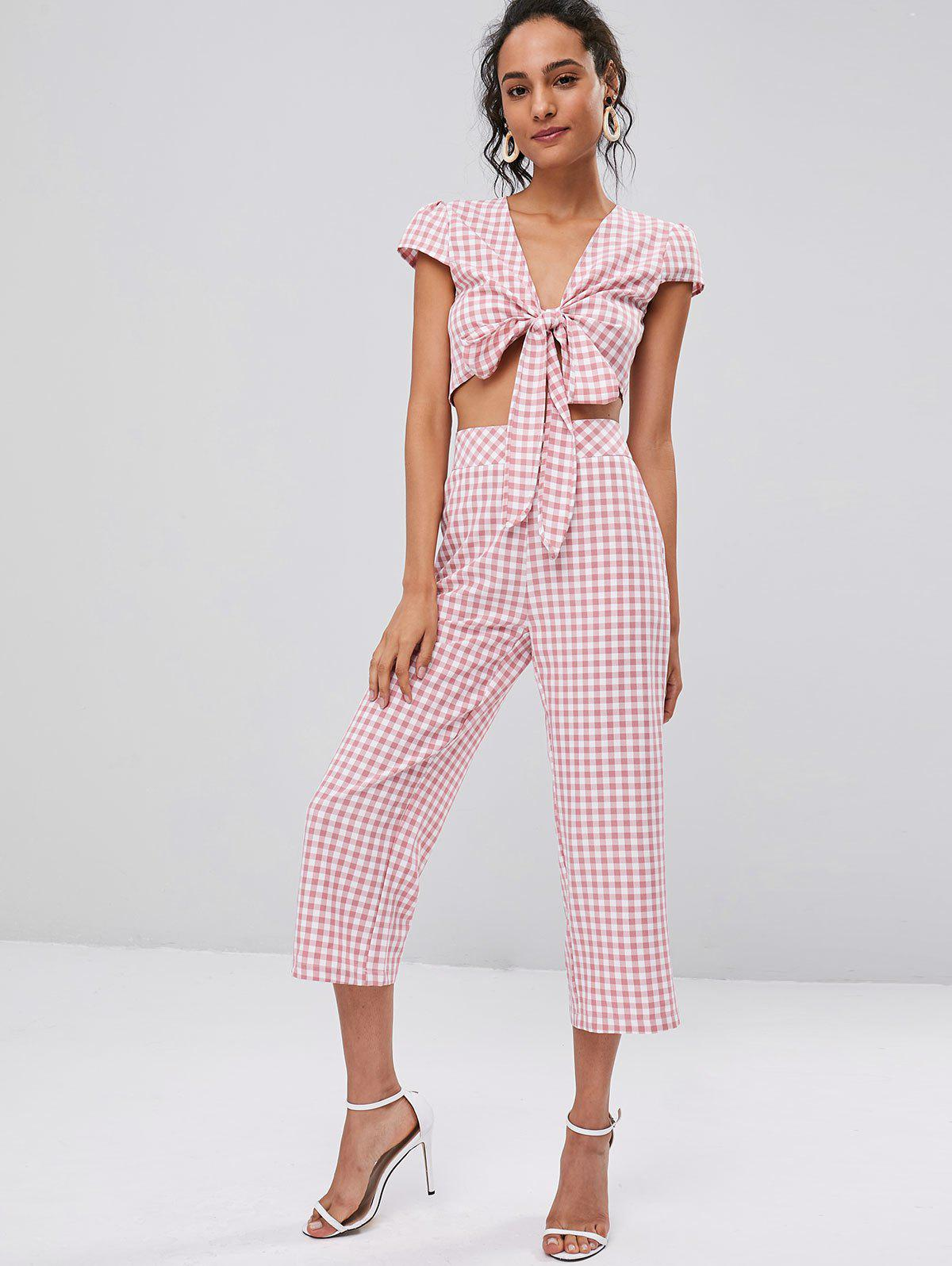 Tie Front Gingham Top and Pants Set