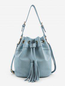 النقش الحد الأدنى شرابات الديكور حقيبة الكتف - أزرق