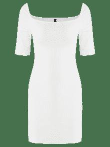 Blanco L Vestido Mini Acampanado Bodycon t64qAWwxp