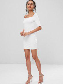 Acampanado Vestido Bodycon L Blanco Mini pTn7W6