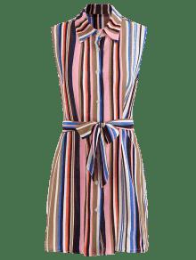 De Multicolor Vestido Mangas L Sin A Rayas Camisa pwUq6YUxd