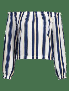 Del La S De Fuera Hombro Stripe Multicolor Blusa Frilled q6pUAXw6