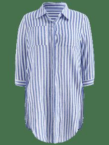 Camisa A Lateral Bolsillos M Bolsillo Hendidura Azul Rayas Con W6qIfX7