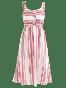 Multicolor Vestido Media Pierna Rayas Con L A Lazo A 0w06grHq