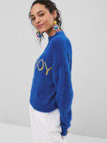 Cobalto High Boy Neck News Sweater Fuzzy Azul rYrAUq
