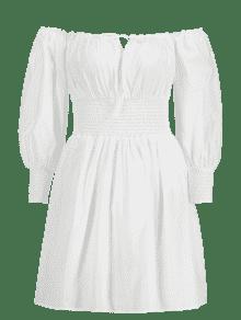 Blanco L Con Camisero Descubiertos Vestido Hombros nxYHXB7Wq